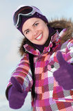Smiling happy young woman outdoors in winter Stock Images