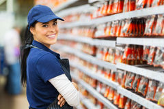 Smiling hardware store worker. Looking at the camera Royalty Free Stock Images