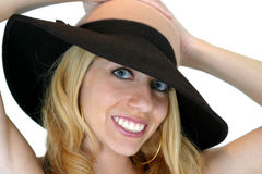 Smiling Hat. Blond Smiling in a hat Royalty Free Stock Photos
