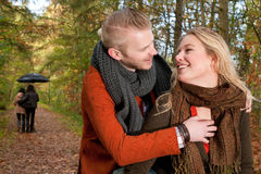 Smiling and having fun in the forest Stock Photography