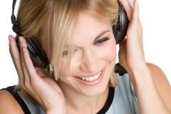 Smiling Headphones Girl Royalty Free Stock Image