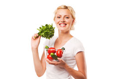 Smiling healthy happy woman with vegetables. on Royalty Free Stock Photos