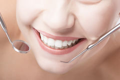 Smiling Healthy Woman Mouth Closeup With Dentist Mirror and Spat Stock Images