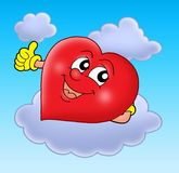 Smiling heart on cloud. Color illustration Royalty Free Stock Image