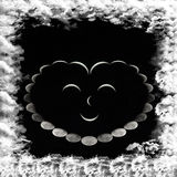 Smiling heart Of the phases of the moon. And the framework of the clouds surrounding the heart royalty free stock images