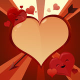Smiling hearts. Smiling red hearts cartoon Valentine background illustration Royalty Free Stock Photo