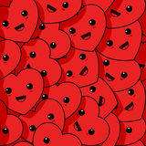 Smiling hearts. Smiling red hearts seamless pattern Royalty Free Stock Photography