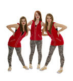 Smiling Hip Hop Dancers in Red Royalty Free Stock Images