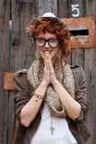 Smiling hipster girl Stock Images
