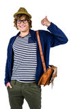Smiling hipster making thumbs up Royalty Free Stock Photos