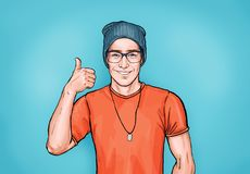 Smiling hipster man in glasses with Like sign. Advertising design with person that guarantees the quality of work or services. Male in orange t-shirt and hat vector illustration