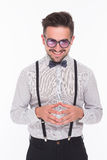 Smiling hipster man in studio Royalty Free Stock Photo