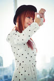 Smiling hipster woman do a framing with her hands Stock Photo