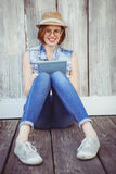 Smiling Hipster Woman Holding A Tablet Stock Images