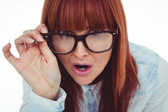 Smiling hipster woman holding her glasses Stock Image