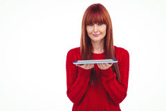 Smiling hipster woman holding tablet Stock Photos