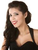 Smiling Hispanic Beauty. Smiling young Hispanic beauty with polka dot dress Royalty Free Stock Photos