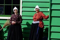 Smiling holland women. In Zaanse Schans ethnographic museum in Netherlands stock photo