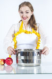 Smiling homemaker with pan Stock Image