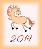Smiling horse - a symbol of 2014 Royalty Free Stock Image