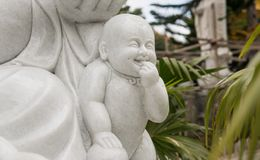 Smiling Hotei close-up. Feng Shui magic.n stock images