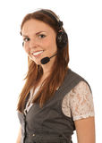 Smiling hotline operator (isolated) Stock Image