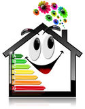Smiling House with Energy Efficiency Rating. 3D illustration of a symbol in the shape of smiling house with energy efficiency rating and flowers. Isolated on Stock Images