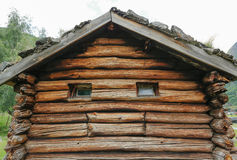 Smiling house. Old wooden house in Norway Stock Photo