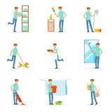 Smiling househusbands washing, cooking, cleaning and shopping. Set of colorful cartoon detailed vector Illustrations Stock Photos