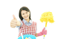 Smiling housewife royalty free stock photography