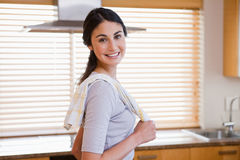 Smiling housewife posing Royalty Free Stock Photography