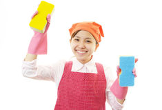 Smiling housewife royalty free stock photo