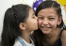 Smiling and huges children. Royalty Free Stock Photography