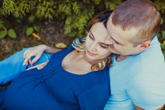 A young couple outdoors royalty free stock images