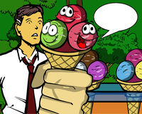 Smiling Ice cream with speech bubble Royalty Free Stock Photo
