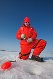 Smiling ice fisherman Royalty Free Stock Photo