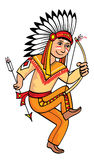 Smiling Indian with bow and arrow in his hands. Royalty Free Stock Photography