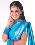 Smiling  indian  face  with blue sari Stock Photos