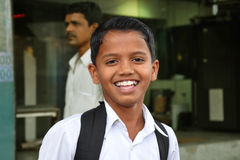 Smiling indian schoolboy Stock Photos