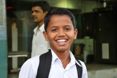 Smiling indian schoolboy Stock Photos