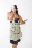 Smiling Indian Woman Tosses Flour Stock Photos