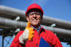 Smiling Industrial Worker Giving Thumb Up Royalty Free Stock Images
