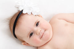 Smiling infant baby. The first year of the new life Stock Photos
