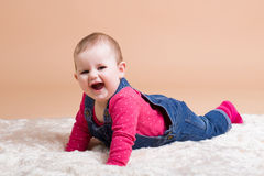 Smiling infant baby. The first year of the new life Royalty Free Stock Image