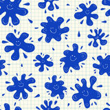 Smiling ink blots seamless pattern Stock Photo