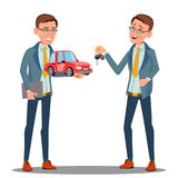 Smiling Insurance Agent Holding A Car In Hand Vector. Isolated Illustration. Smiling Insurance Agent Holding A Car In Hand Vector. Illustration royalty free illustration