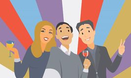 Smiling international business team holding glasses of Champagne and Wine against colourful background. vector illustration