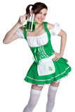 Smiling Irish Girl. Holding beer Royalty Free Stock Photos