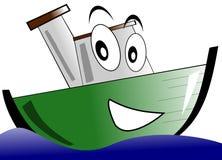 Smiling Isolated Cartoon Boat Royalty Free Stock Image