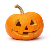 Smiling Jack O Lantern. Carved pumpkin or jack o lantern with big smile on white Stock Photo